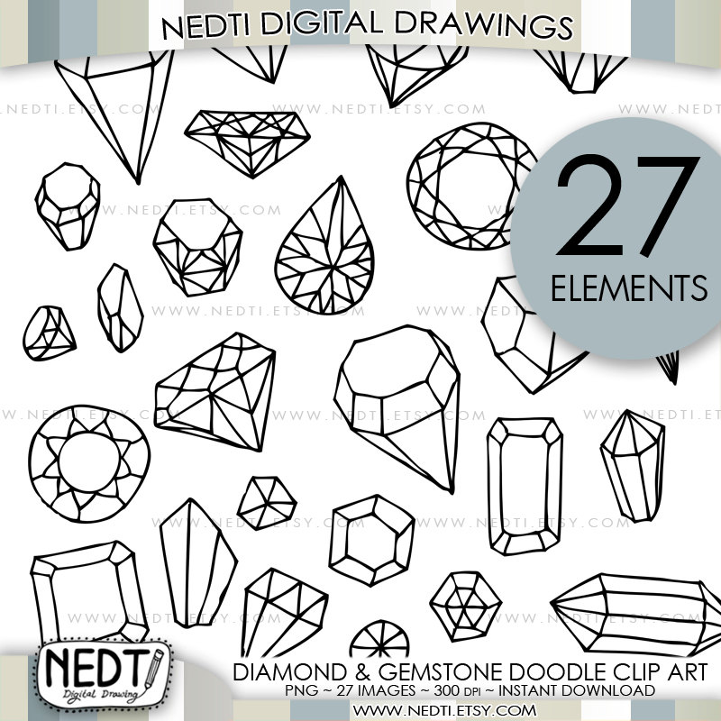 Diamond and Gemstone Doodle Clip Art Jewelry Clipart.