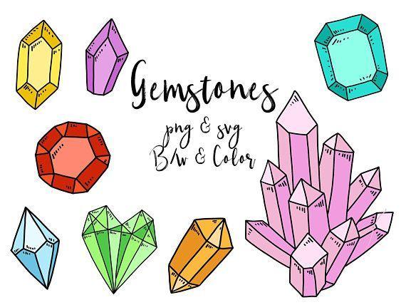 GEM/CRYSTAL CLIPART, clip art, cute, doodles, vector clipart.