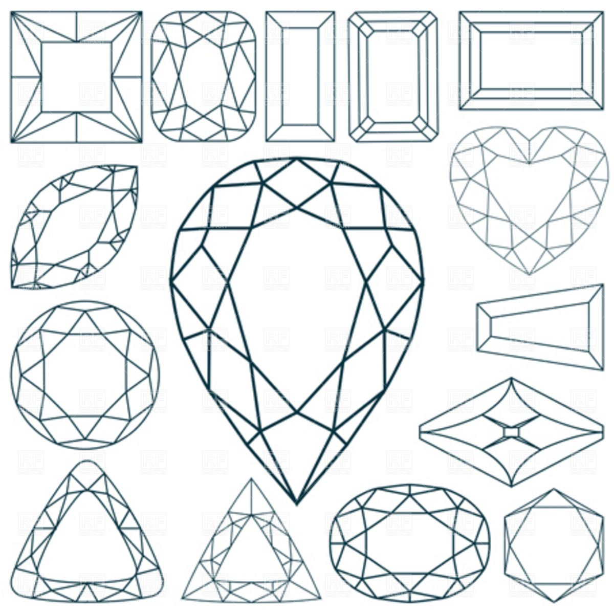 Diamonds faceting Stock Vector Image.