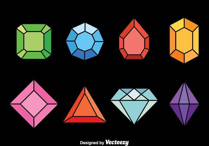 Colorful Gems Vector Set.