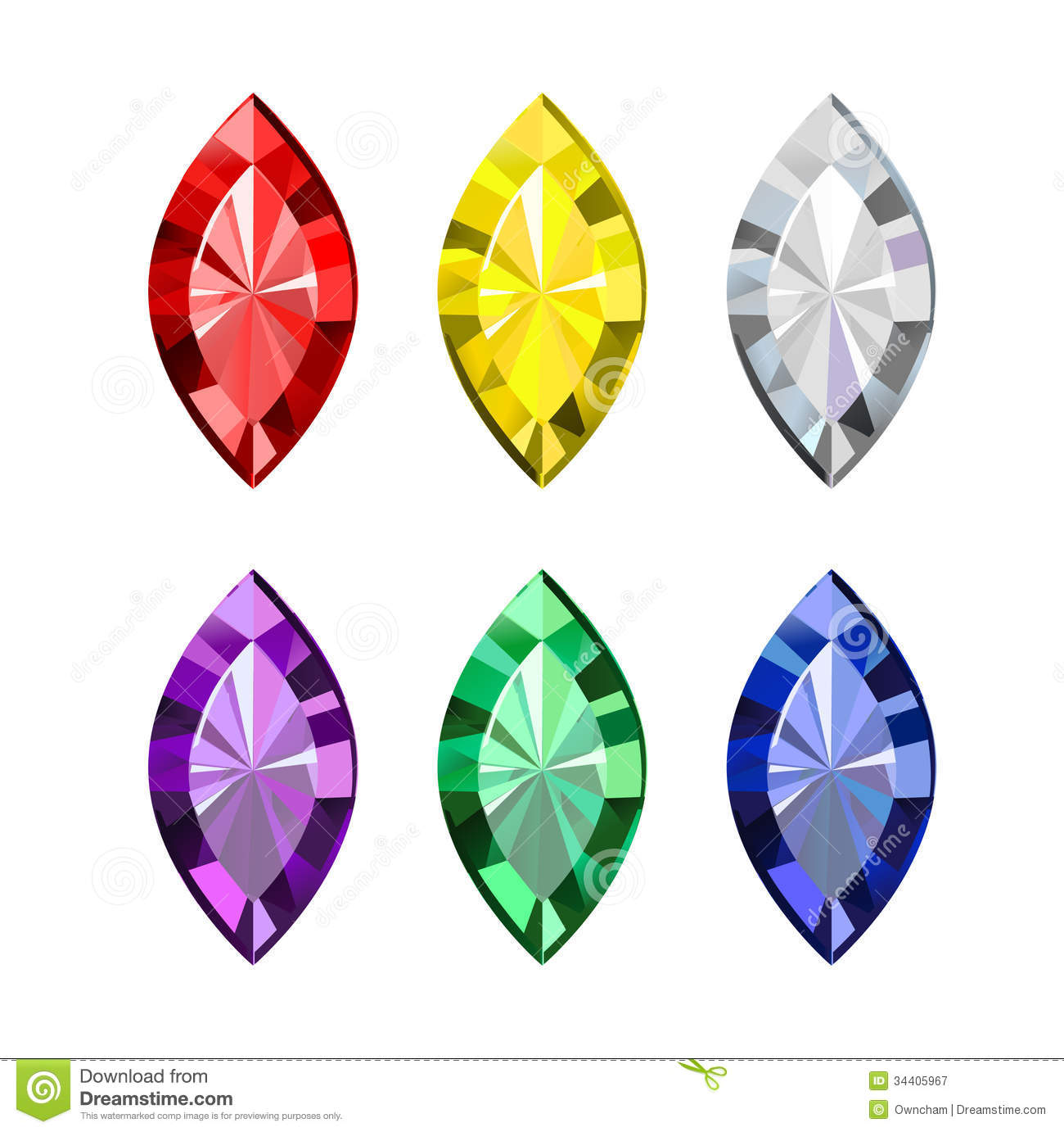 Colorful Gems Clipart.