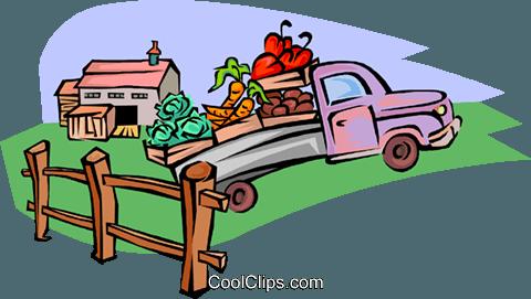 Obst und Gemüse LKW Vektor Clipart Bild.