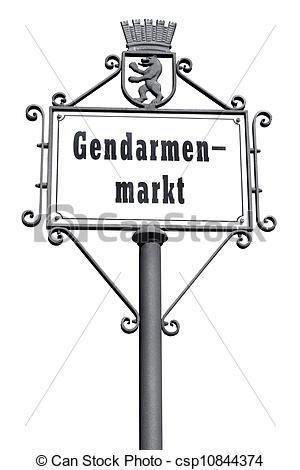 Picture of Gendarmenmarkt, road sign in Berlin, isolated on white.