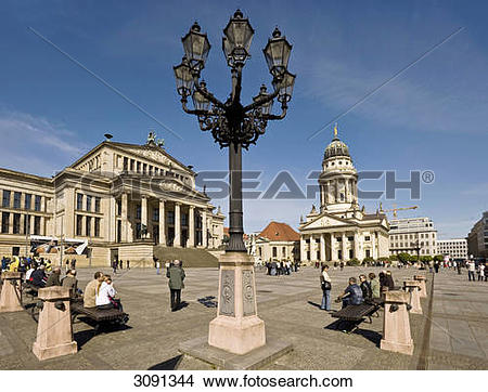 Stock Photo of Konzerthaus concert hall and French Cathedral at.