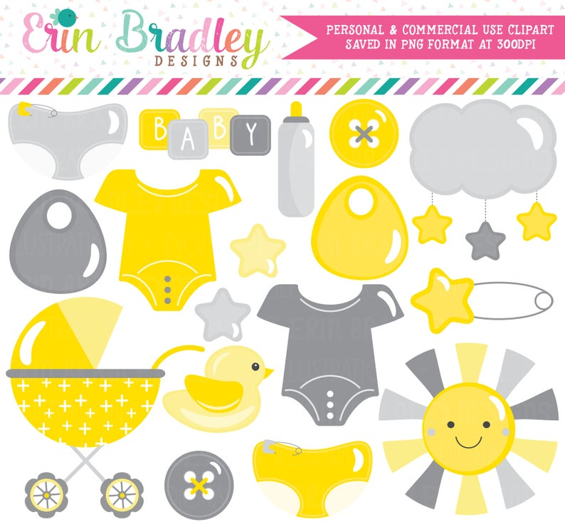 Gender Neutral Baby Clipart in Yellow and Gray Baby Shower Clip Art  Graphics Stroller, Duck, Baby Tees, Safety Pin, Stars, Diapers.