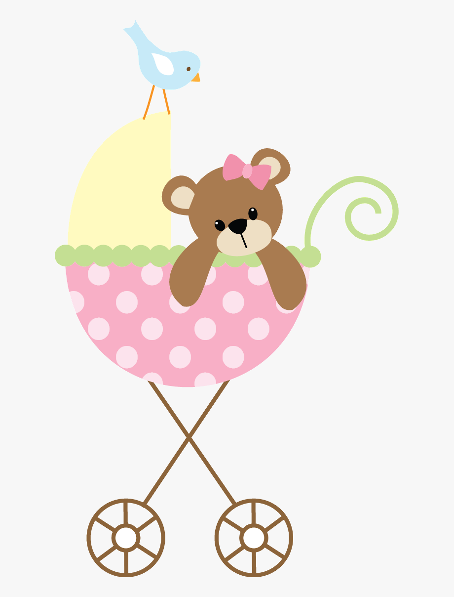 Baby Clipart Girl Cute Pink Baby Carriage.