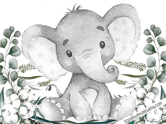 Neutral Baby Shower Invite, Elephant Baby Shower Invitation.