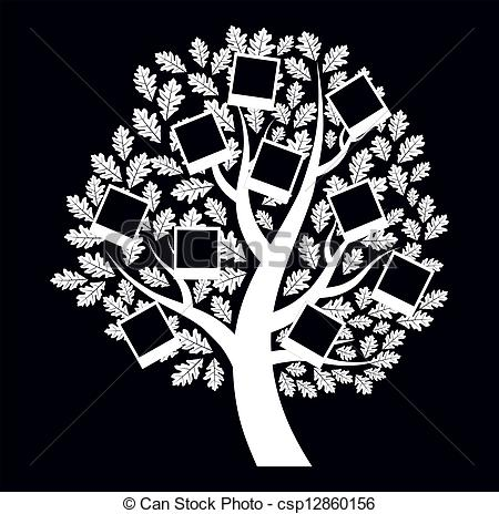 Clipart Vector of Family genealogical tree on black background.
