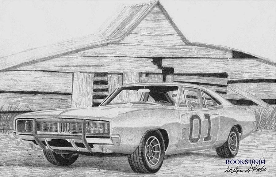 1969 Dodge Charger General Lee Muscle Car Art Print by.