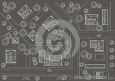 Linear Architectural Sketch General Plan Village Stock.