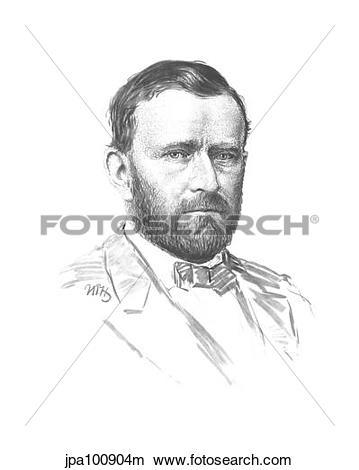 Drawings of Vintage Civil War portrait of General Ulysses S. Grant.