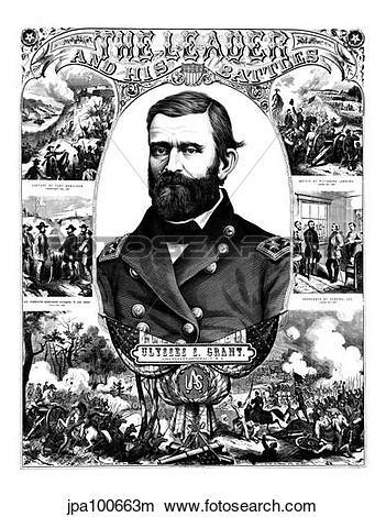 Drawings of Vintage Civil War poster of General Ulysses S. Grant.