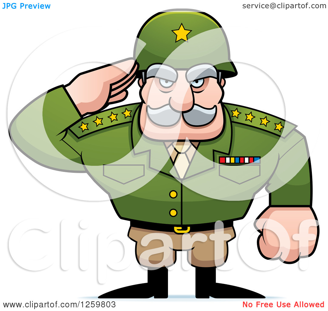 Clipart of a Caucasian Army General Man Saluting.