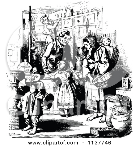Clipart Of A Retro Vintage Black And White Mother And Children At.
