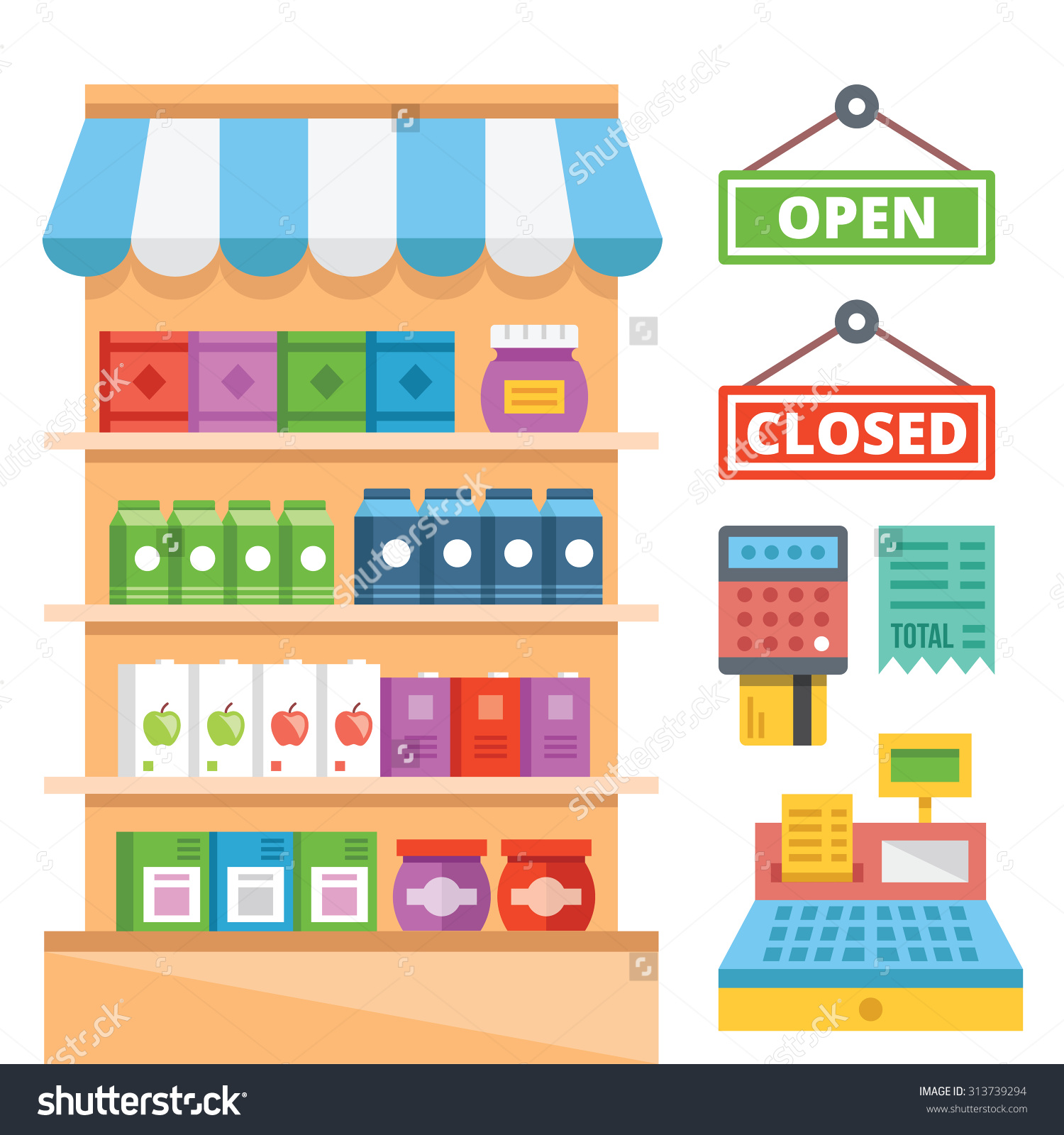 Supermarket Shelves General Store Equipment Flat Stock Vector.