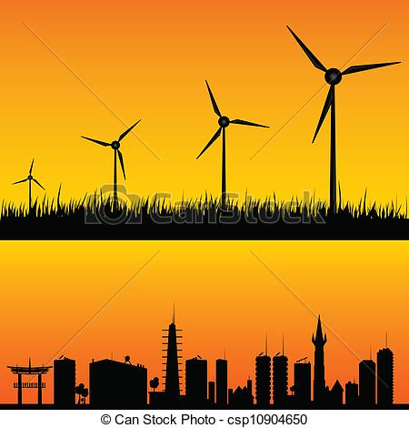 Clipart Vector of windmills to generate electricity vector.