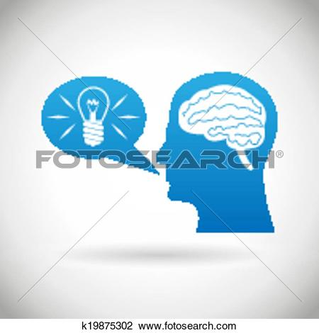 Clipart of Headmind Brain in Head Silhouette Generate Lamp Idea.