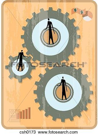 Drawing of Three men turning the gears to generate income csh0173.