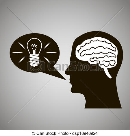 Vector Illustration of Headmind Brain Head Silhouette Generate.