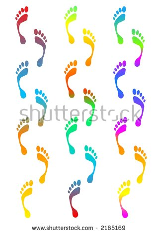Coloured Footprints Traces Computer Generated Clipart Stock.
