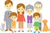 Three Generation Family Clip Art.