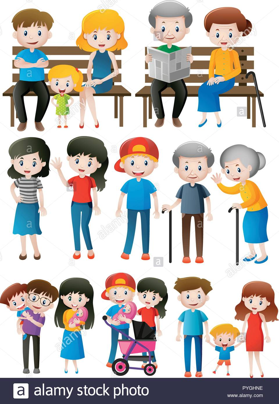 Family members of different generations illustration Stock Vector.