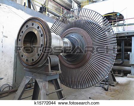 Stock Photo of Power generator steam turbine during repair at.