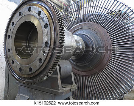 Stock Photo of Power generator steam turbine during repair at.