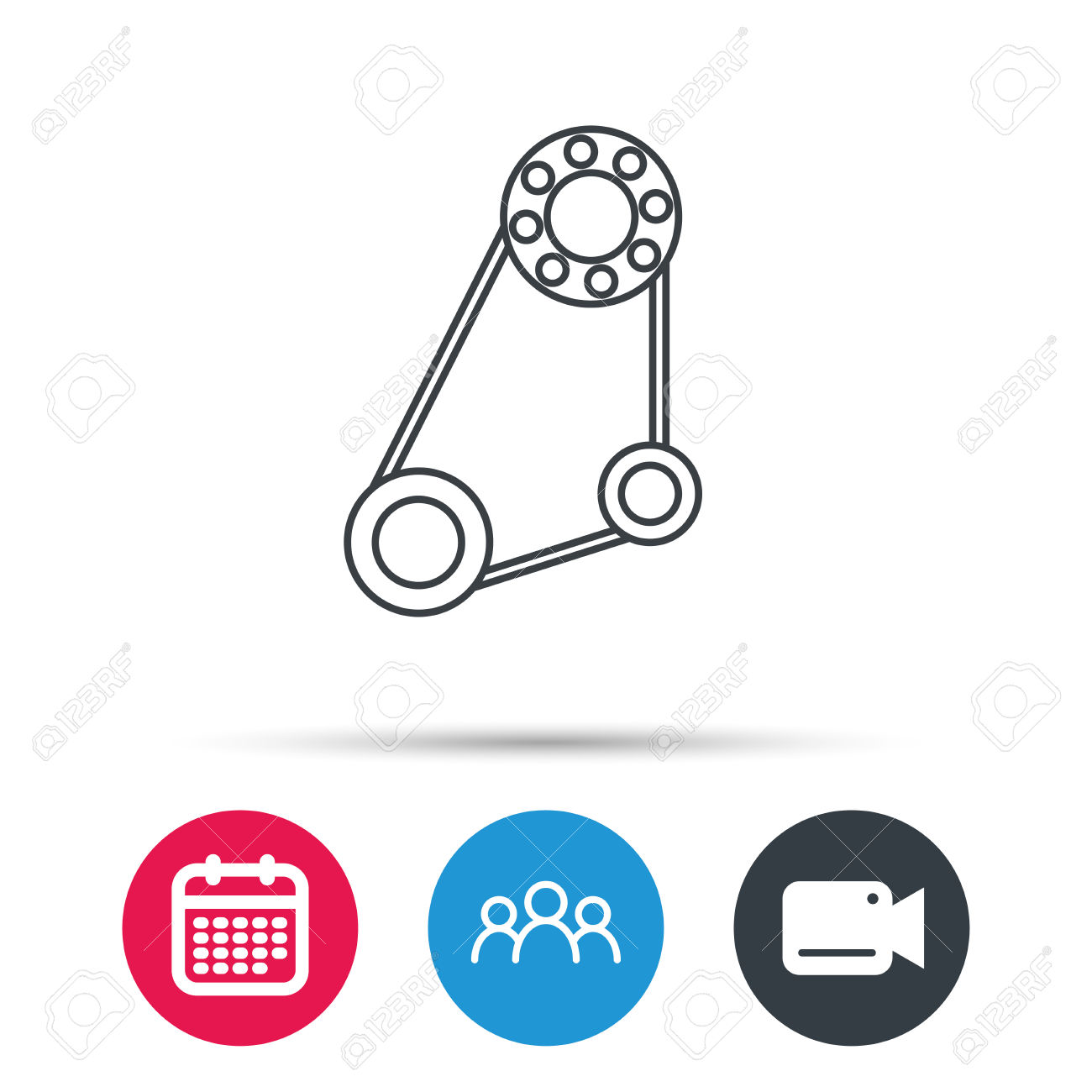 Timing Belt Icon. Generator Strap Sign. Repair Service Symbol.