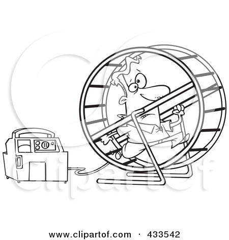 Coloring Page Line Art Of A Man Running In A Wheel To Power A.