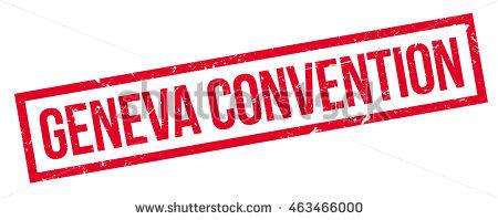 Geneva Convention Rubber Stamp On White. Print, Impress, Overprint.