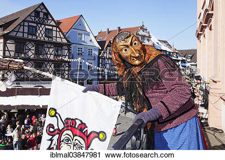 "Stock Photography of ""Witch on the balcony of Gengenbach Town Hall."