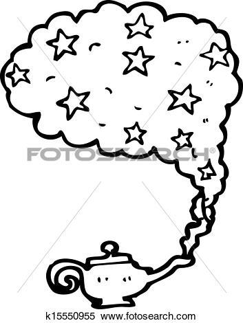 Clipart of cartoon genie in bottle k15550955.