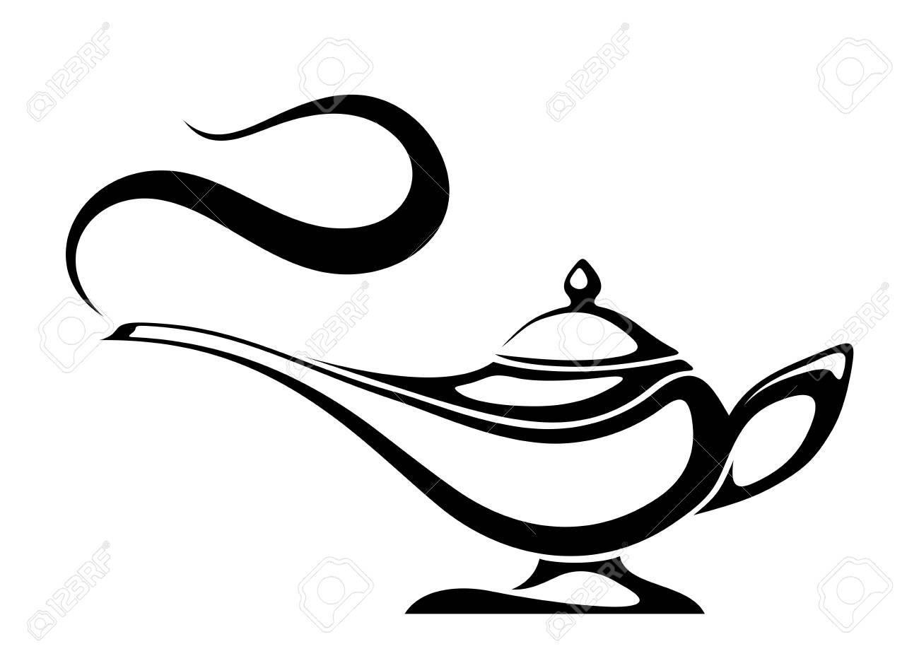 Black silhouette of an Arabic genie lamp..