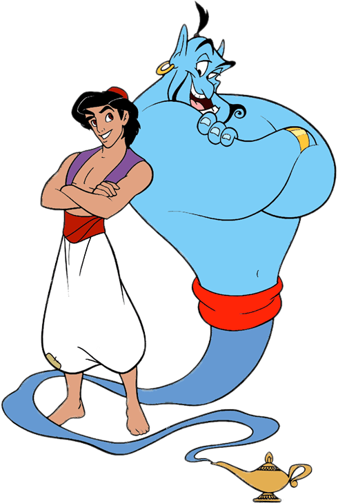 Aladdin and Genie transparent PNG.