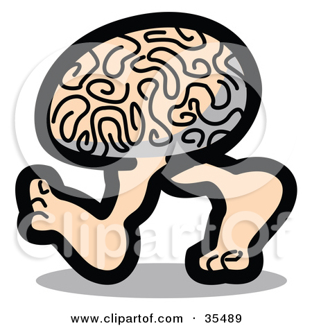 Clipart Illustration of a Genius Brain Walking On Two Legs by Andy.
