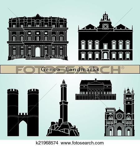 Clipart of Genoa Landmarks k21968574.
