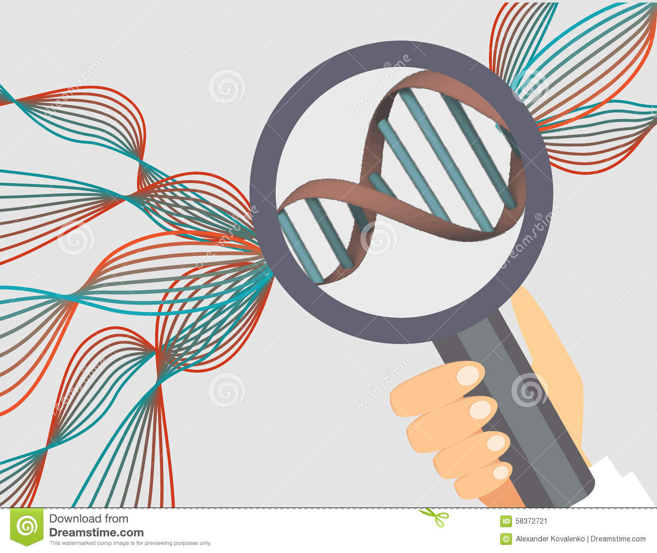 Genetics Illustration.Human Genome Research Vector Illustration.