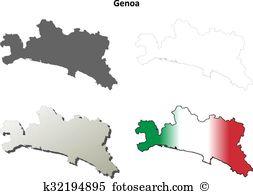 Genova set Clip Art Vector Graphics. 4 genova set EPS clipart.