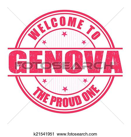 Clipart of Welcome to Genova stamp k21541951.
