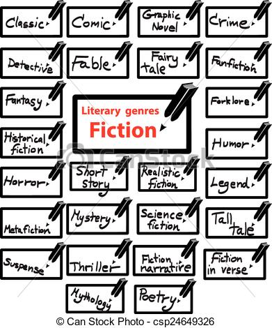 Vector Illustration of vector icon of literary genres fiction.