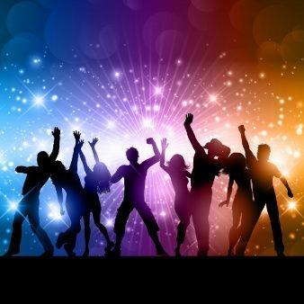 Fondo brillantes con siluetas de personas bailando en 2019.