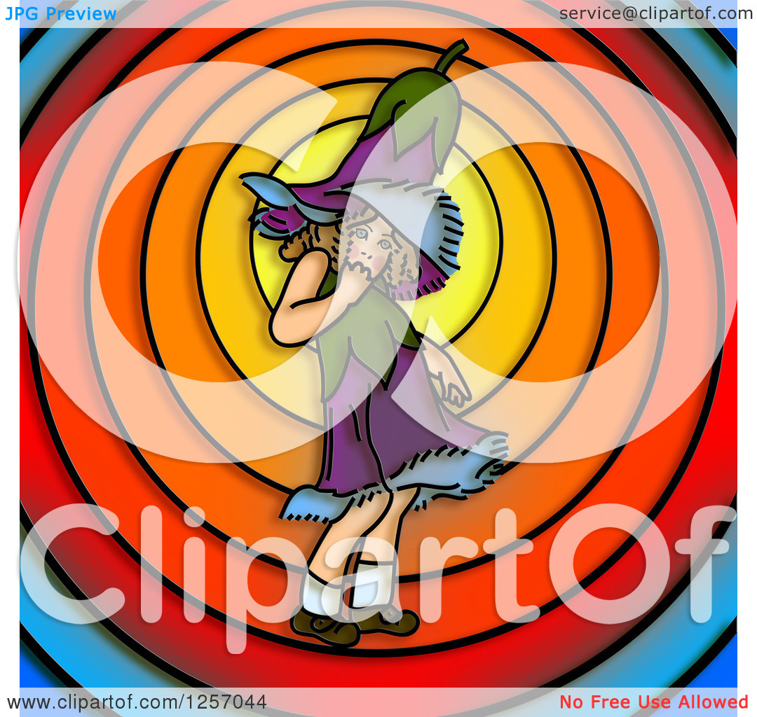 Clipart of a Gentian Flower Girl over Colorful Circles.