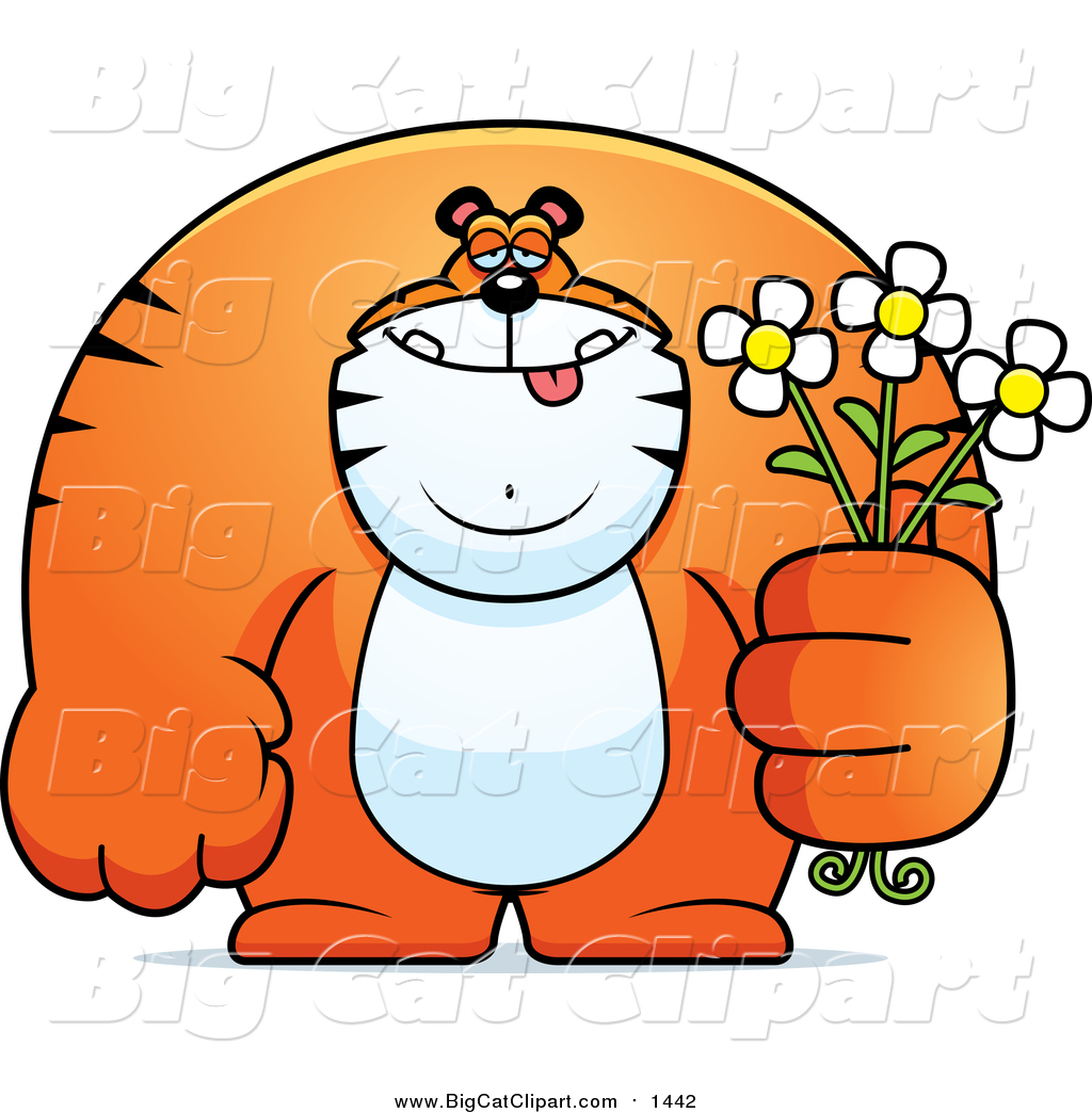 Cartoon Vector Clipart of a Gentle Big Tiger Posing with Flowers.