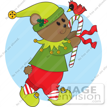 Christmas Clipart Of A Gentle Bear Elf Carrying A Red Cardinal.
