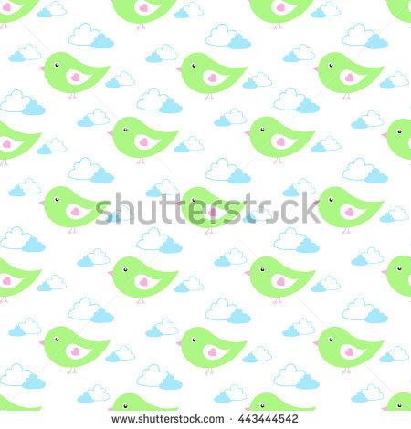 Cartoon Baby Birds Fly In Gentle Light Green Tones In The Clouds.