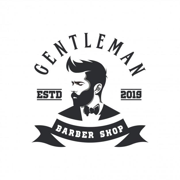 Gentleman barber shop logo Vector.