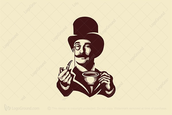 Exclusive Logo 191082, Gentleman With Coffee Logo.