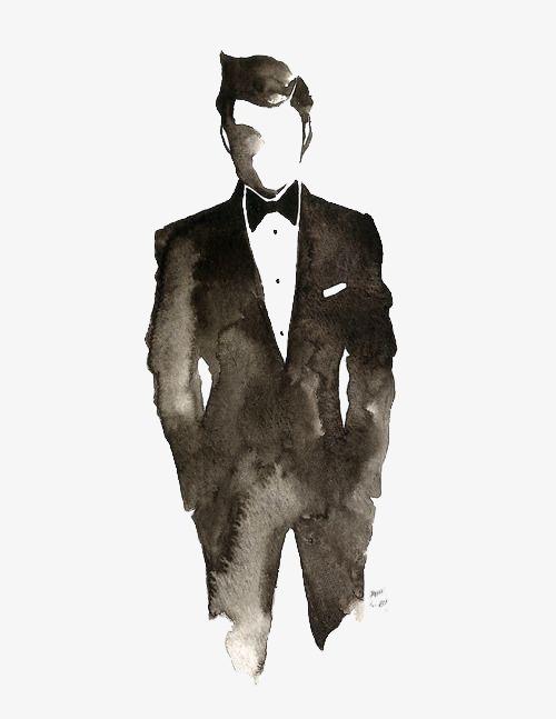Gentleman, Hand Painted Gentleman, Cartoon Gentleman, Drawing.