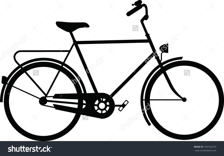 Classic Mens Town Dutch Bike Silhouette Stock Vector 169162310.
